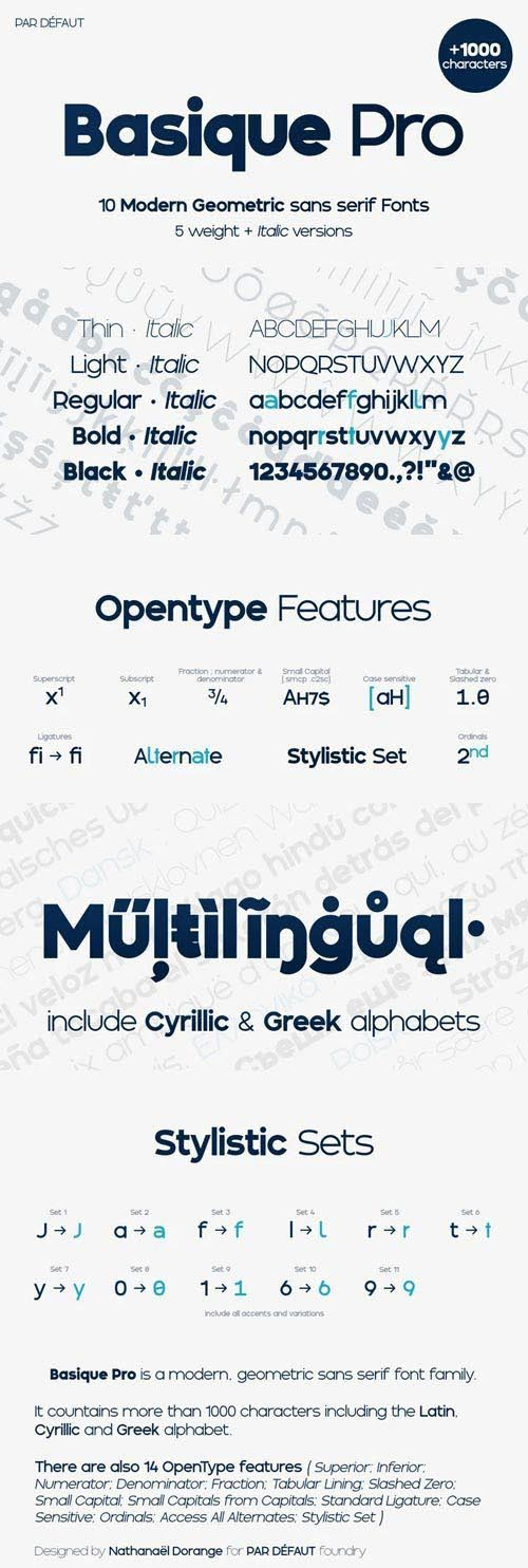 Basique Pro - Geometric Sans Serif Font Family
