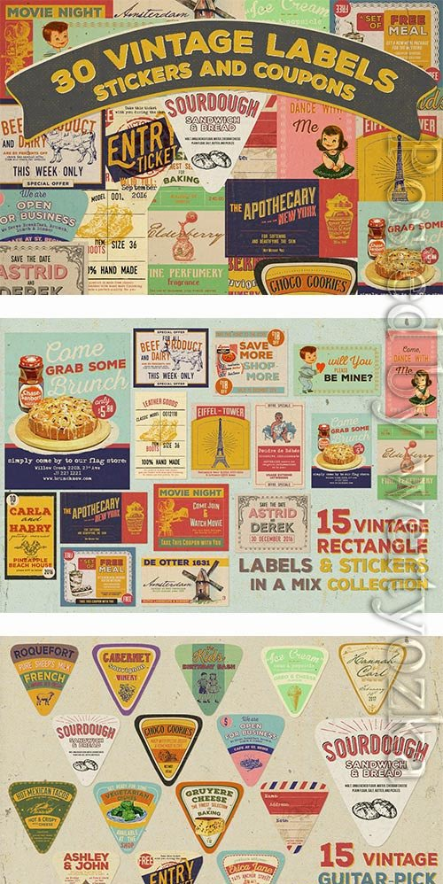 30 Vintage Labels, Stickers, and Coupons Feature