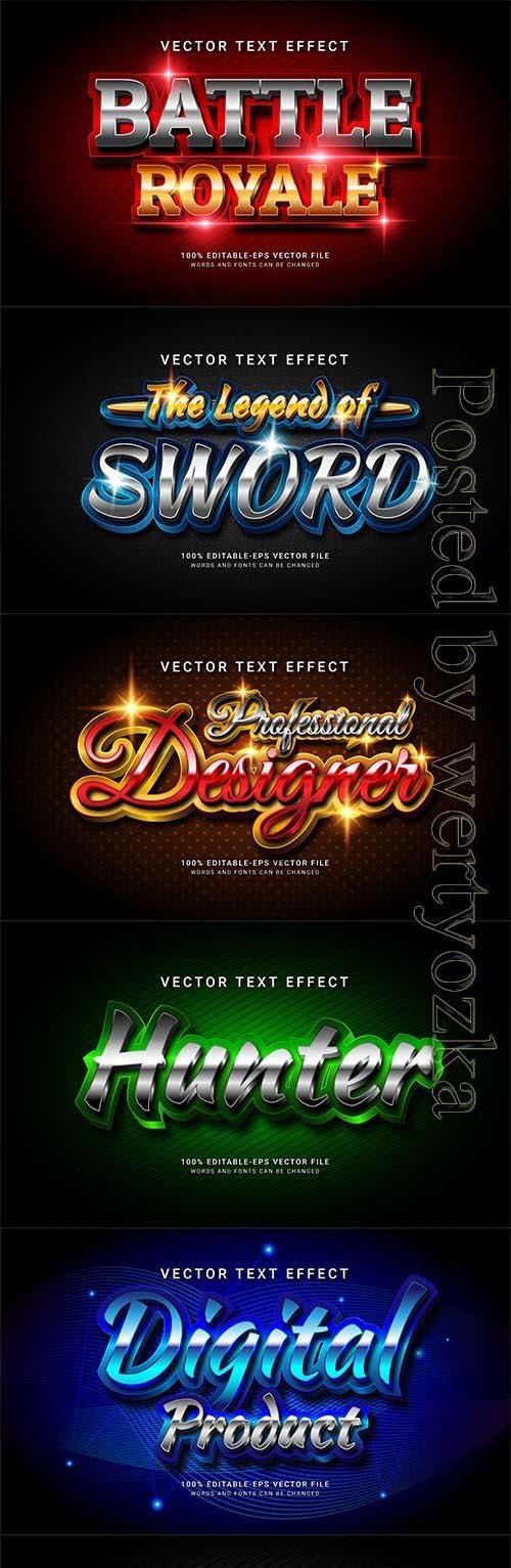 3d editable text style effect vector vol 838