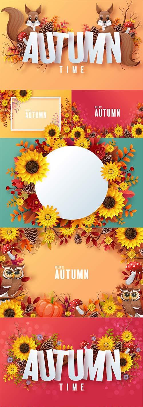 Autumn vector background with colorful autumn leaves