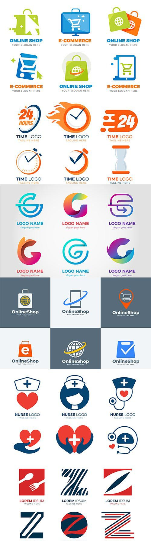 Logos and signs in vector