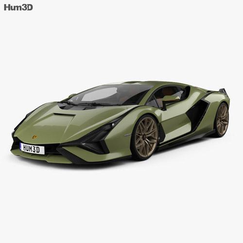 Lamborghini Sian con interior 2020 Modelo 3D