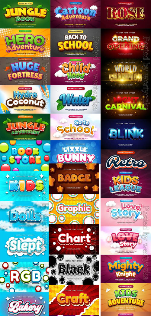 3d editable text style effect vector colection part 06