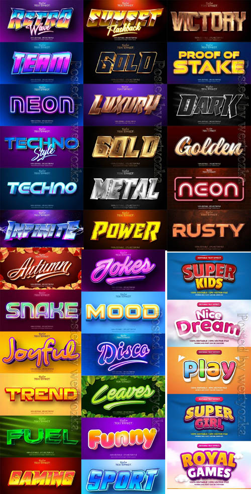 3d editable text style effect vector colection part 07