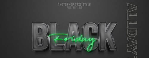 Black friday 3d text style effect Premium Psd2