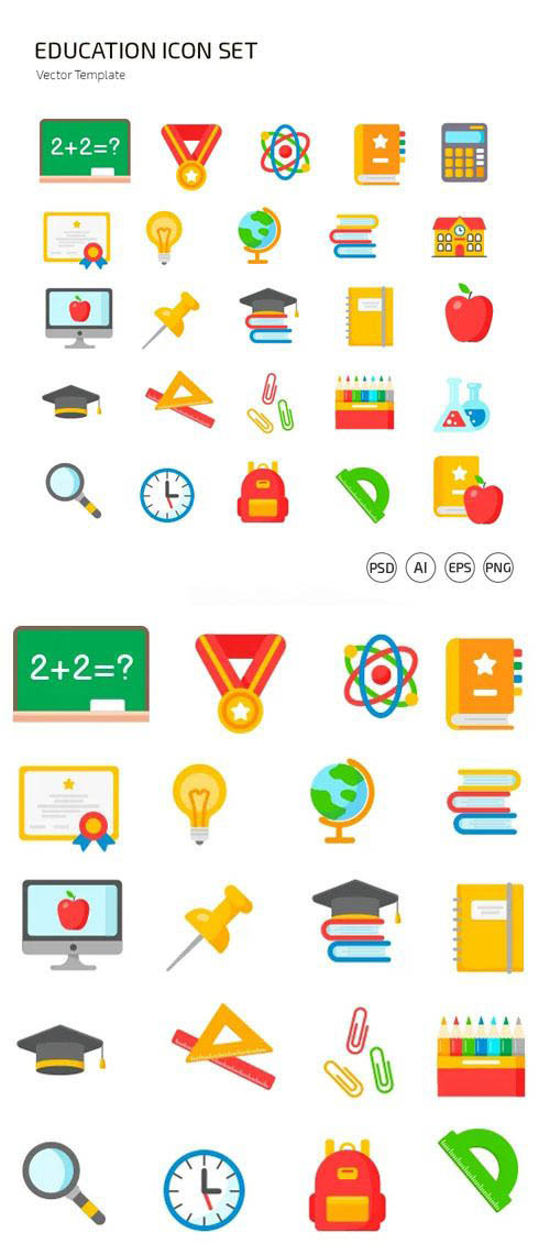 Education Icons Vector Templates
