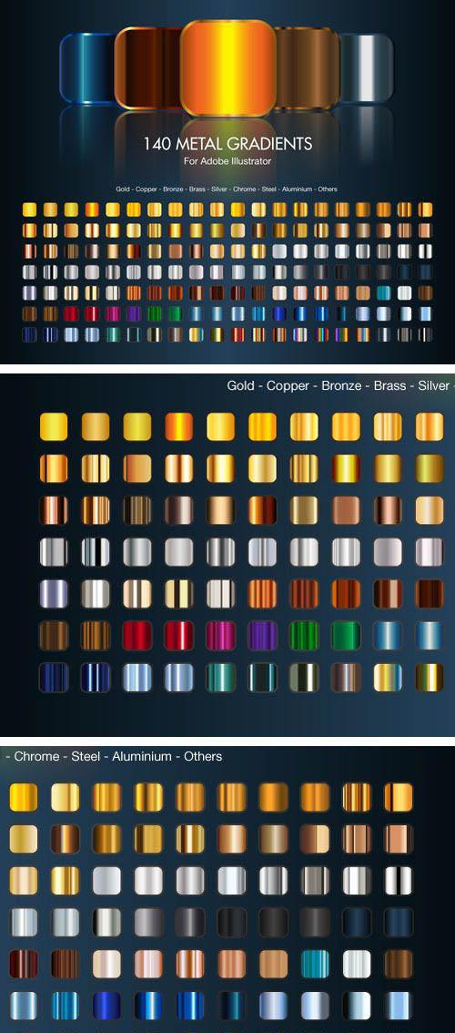 140 Illustrator Metallic Gradients
