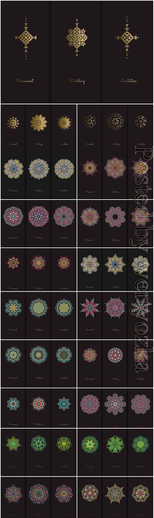 Mandala multicolored elements in vector