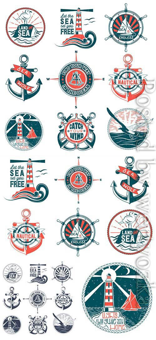 Marine elements and symbols in vector