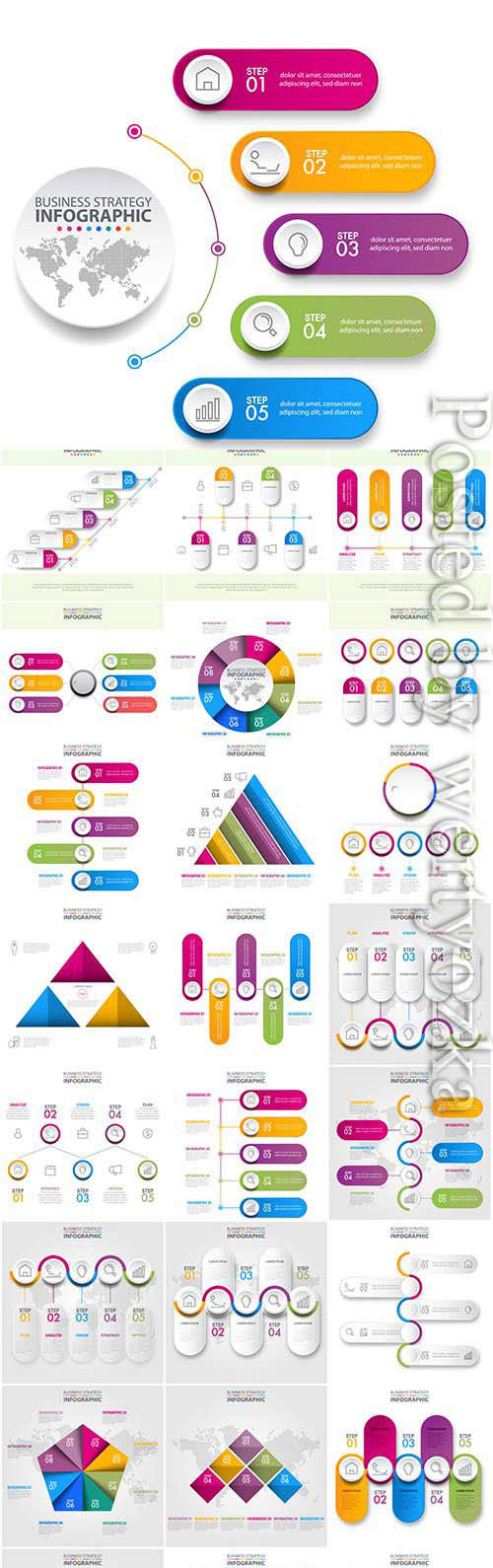 Infographics set illustrations in vector