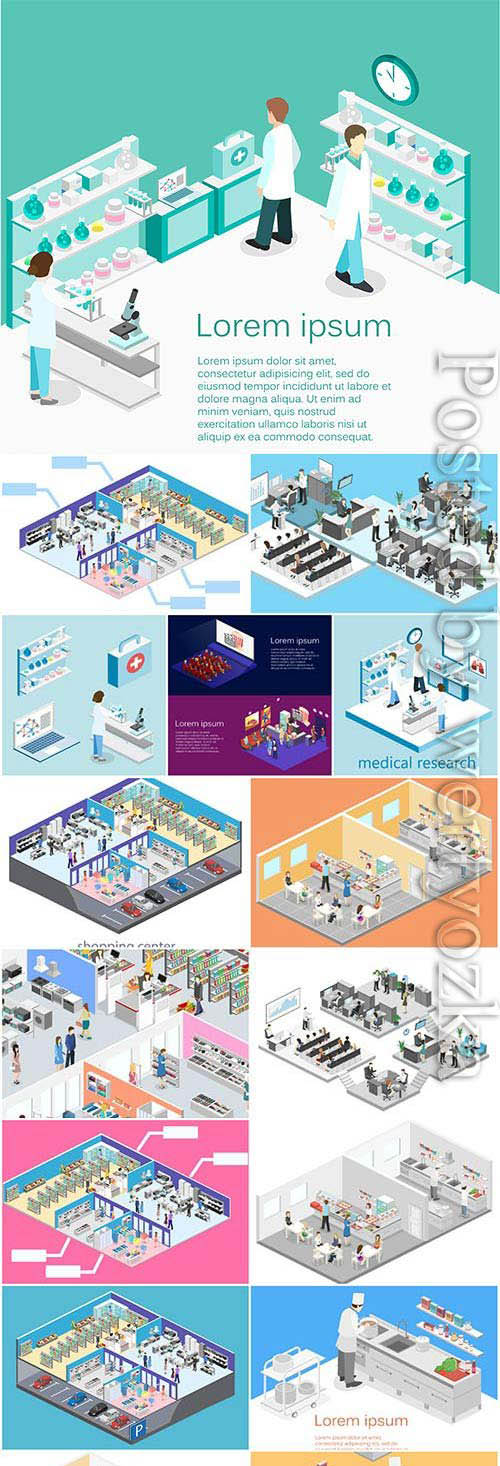 Isometric set of illustrations in vector