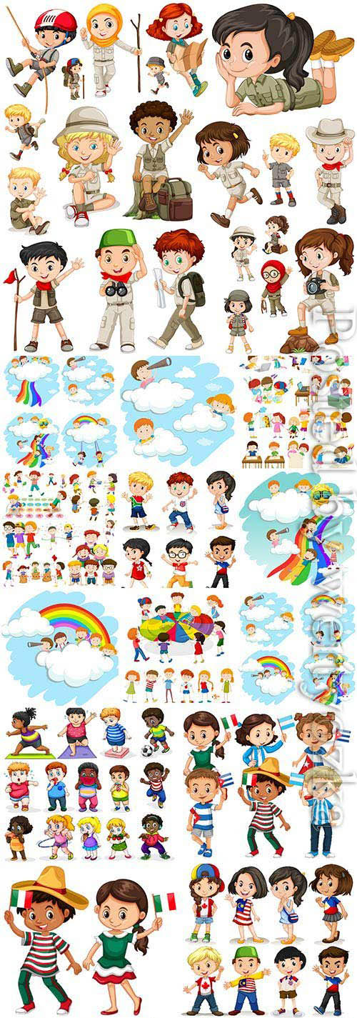 Little cartoon boys and girls in vector