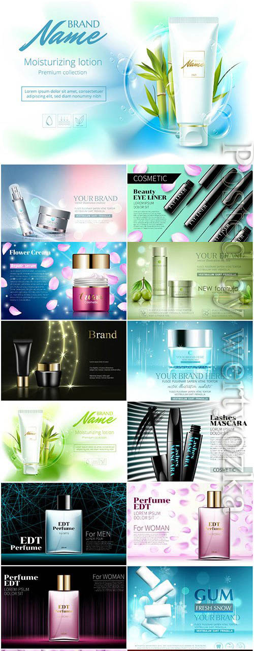 Cosmetic products for women in vector
