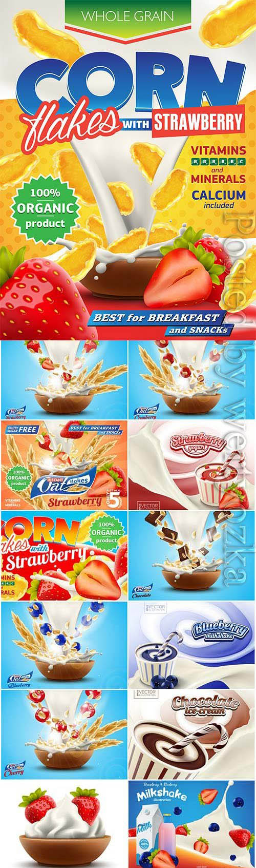 Delicious and healthy breakfasts with berries in vector
