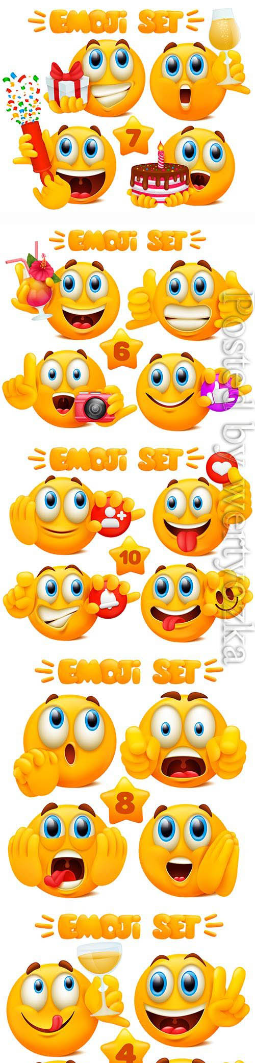Yellow emoji cartoon characters in glossy 3d
