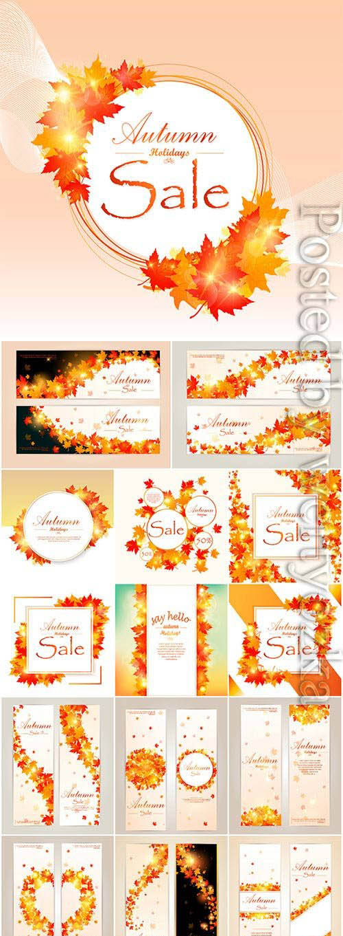 Autumn backgrounds and banners with leaves in vector