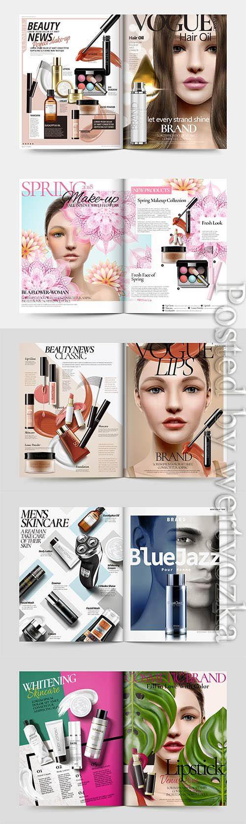 Vector skin care magazine template