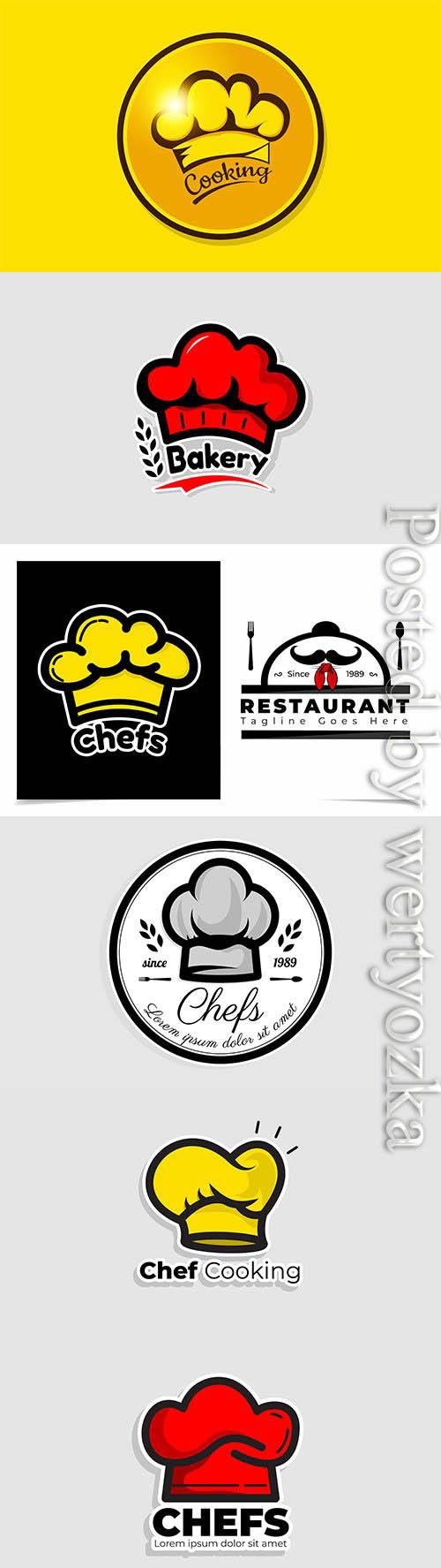Chef hat logo template, vector restaurant logo design inspiration