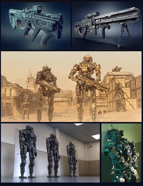 Cyberpunk MEC Droid and Weapons Bundle