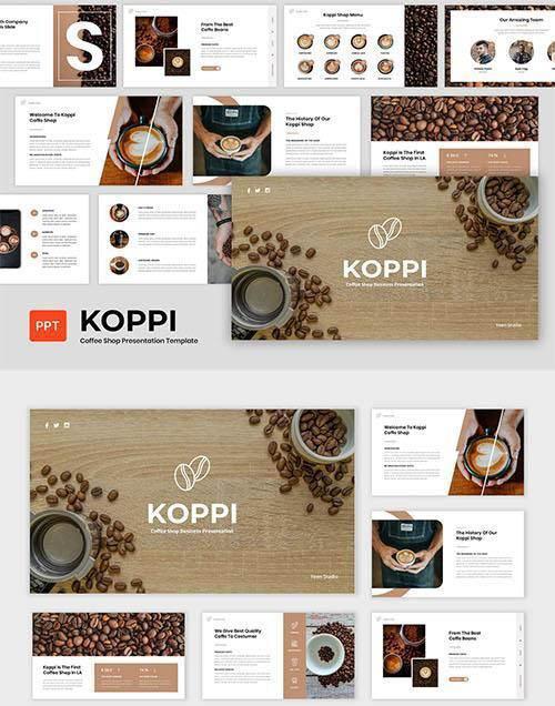 Koppi - Coffee Shop Presentation Powerpoint, Keynote and Google Slides Template