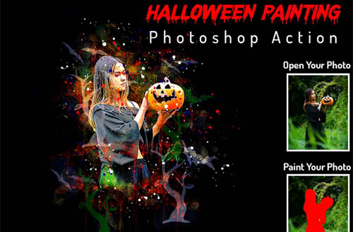 Halloween Painting Photoshop Action - 6415697