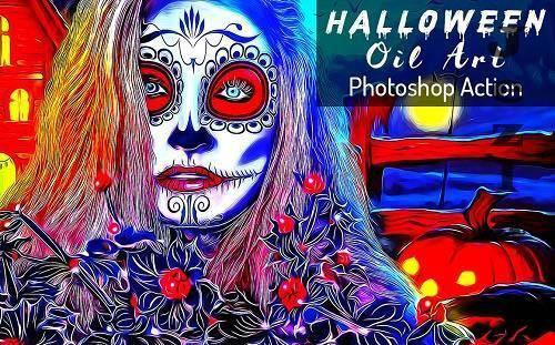 Halloween Oil Art PS Action - 6415773