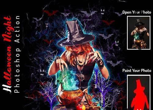 Halloween Night Photoshop Action - 6415868