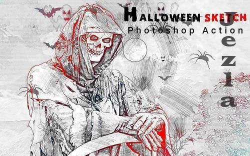 Halloween Sketch Photoshop Action - 6415908