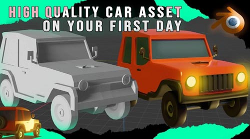 Skillshare - Create a Realistic 3D Car Model on your First Day in Blender - [Modeling from low-po...
