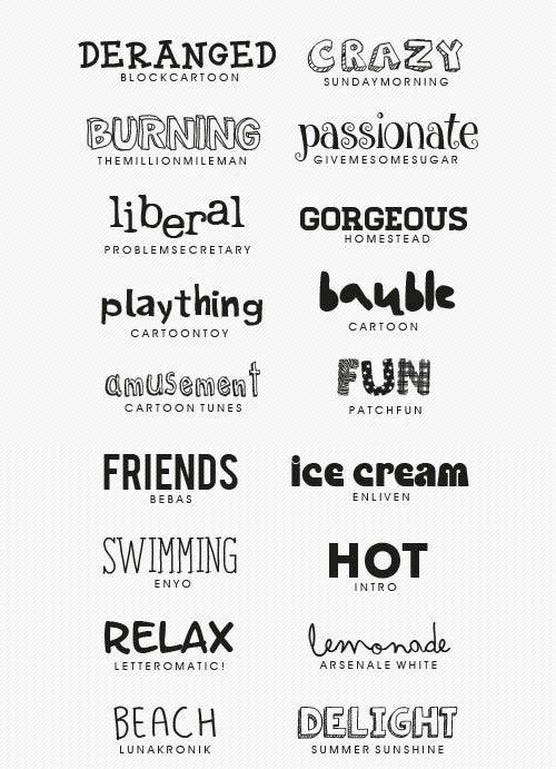 20 Summer & Cartoon Fonts Collection