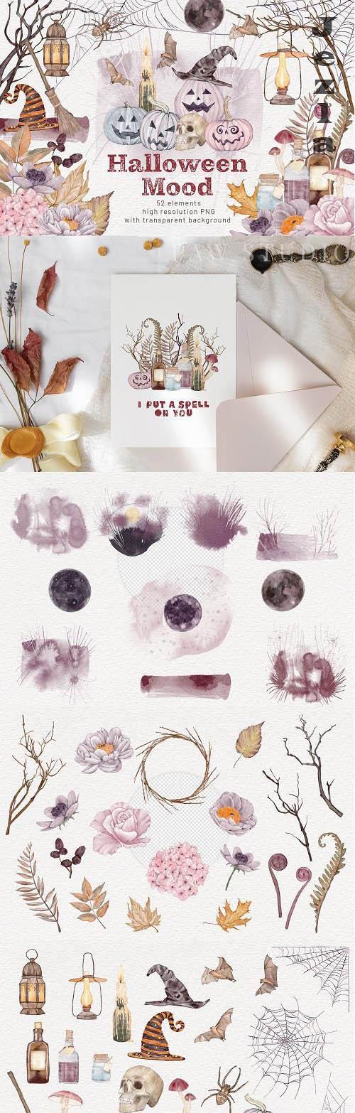 Halloween Clipart Spooky Pumpkins & Fall Flowers - 1556171