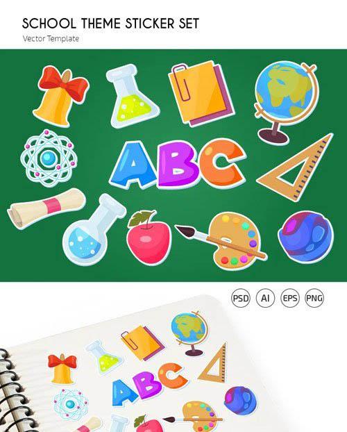 12 School Stickers Vector Templates + PSD