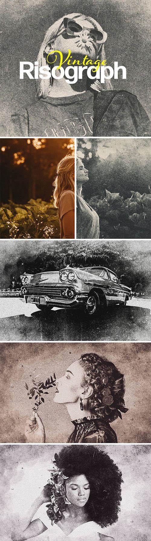 Vintage Risograph - Photoshop Photo Effect Template
