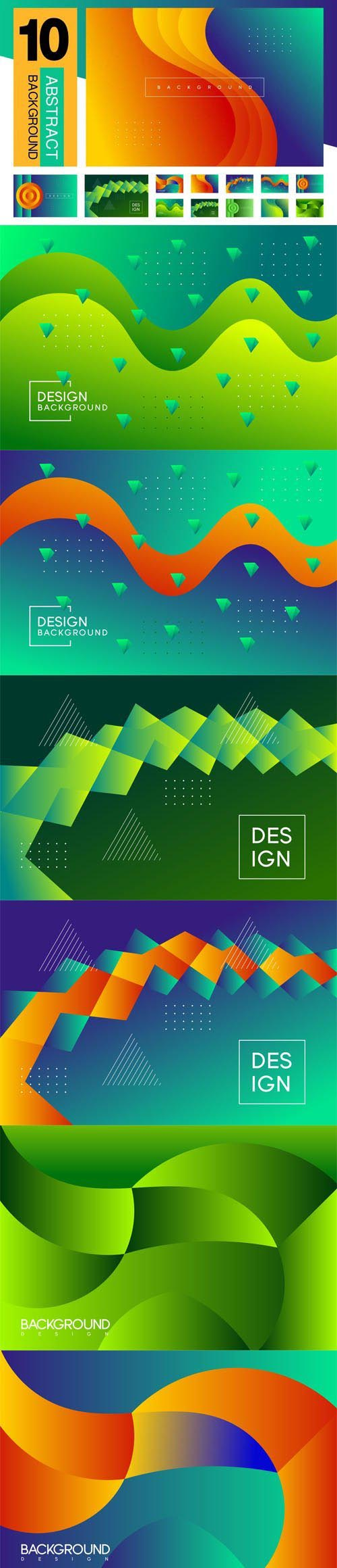10 Abstract Backgrounds in Vector