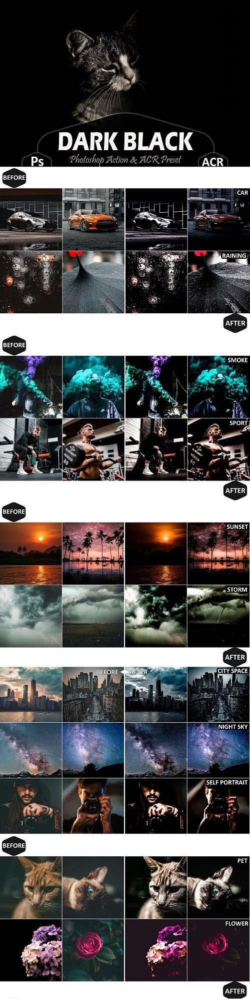 36 Dark Black Photoshop Actions And ACR Presets - 1553543