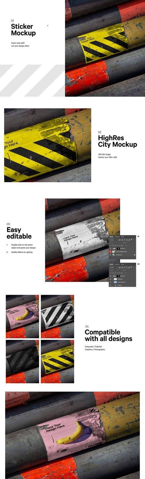 Photorealistic Urban Sticker PSD Mockup Template