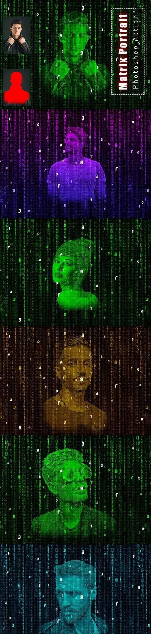 Matrix Portrait Photoshop Action - 6456511