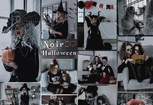 12 Noir Halloween Mobile & Desktop Lightroom Presets, Autumn Spooky Tone LR Preset, Deep Moody, D...