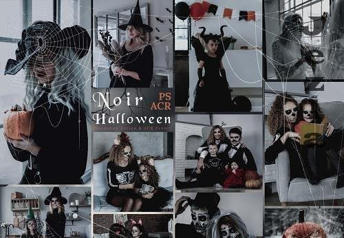 12 Noir Halloween Photoshop Actions And ACR Presets, Autumn Spooky Ps Action, Deep Moody, Blogger...