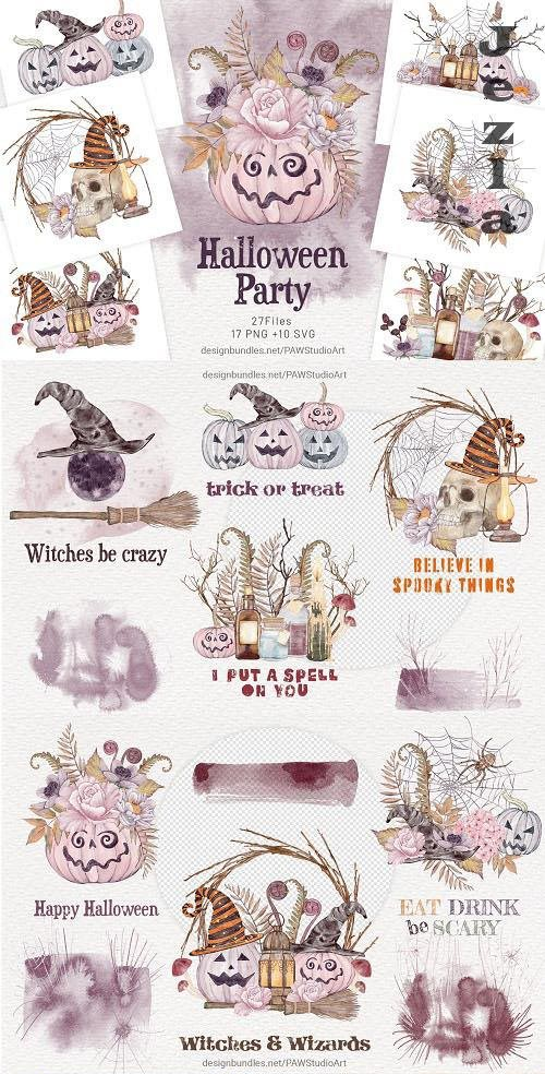 Halloween Cards Spooky Pumpkins & Fall Flowers - 1563418