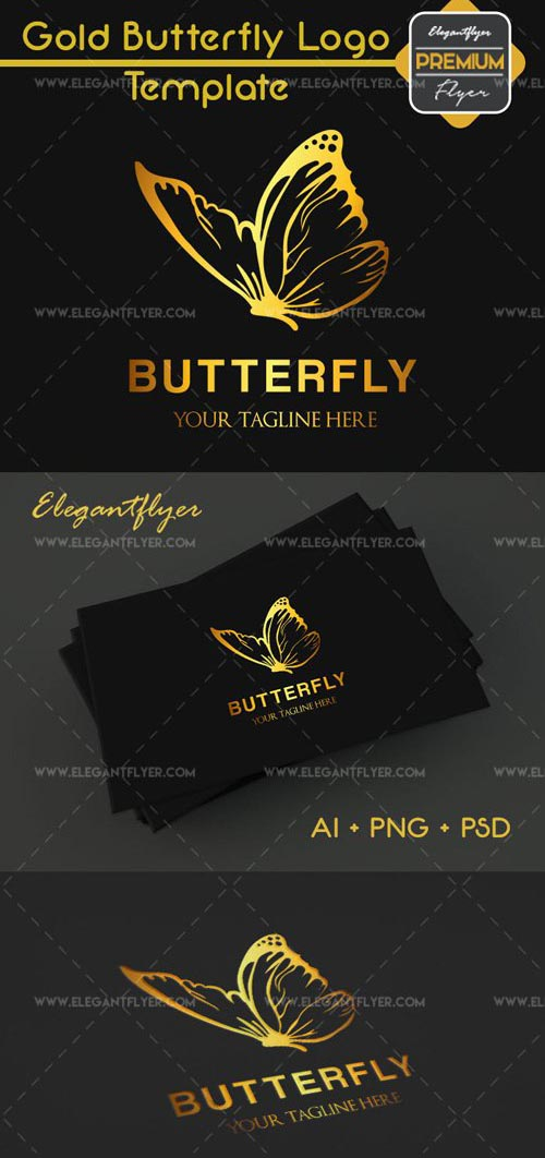 Gold Butterfly Premium Logo Template