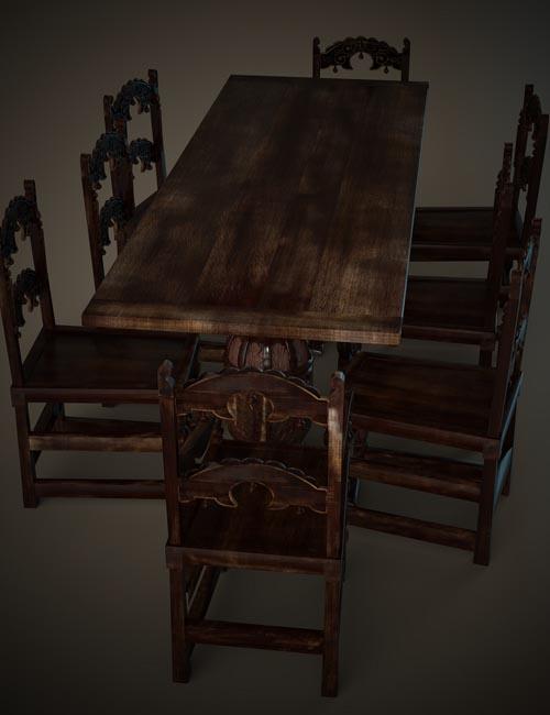 Jacobean English Dining Table Set