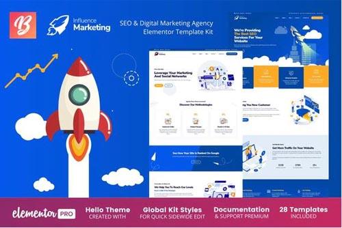 ThemeForest - Influence Marketing v1.0.7 - SEO & Digital Agency Elementor Template Kit - 28718806