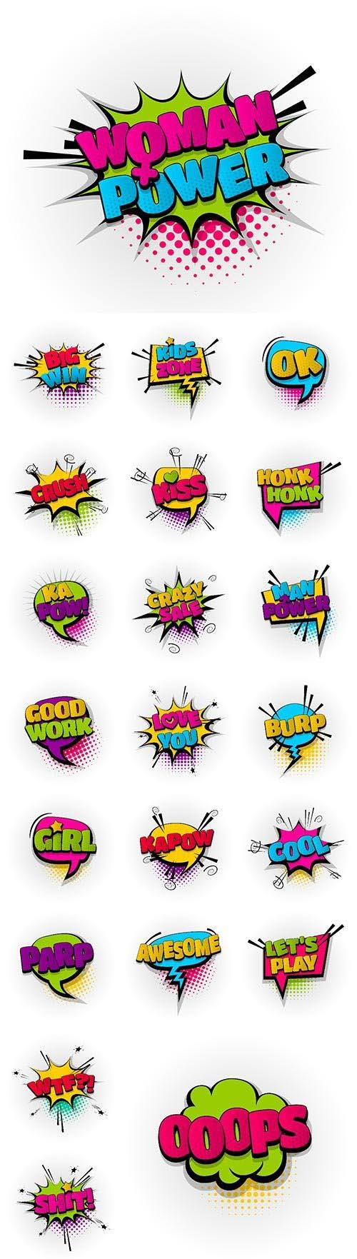 25 comic book text effects template, comics speech bubble halftone pop art style
