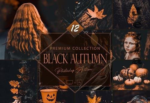 12 Black Autumn Photoshop Actions, Moody Fall ACR Preset, Orange Ps Filter