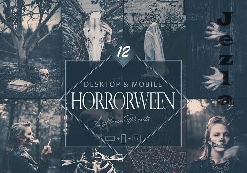 12 Horrorween Lightroom Presets, Moody Halloween Mobile Preset, Dark Horror Desktop LR Filter - 1...