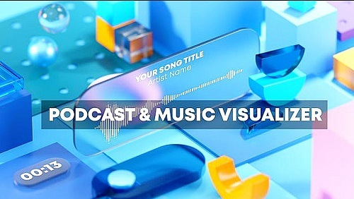 Podcast And Music Visual Techno Geometry 991102 - Project for After Effects