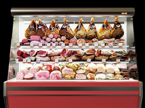 Shelves with meat