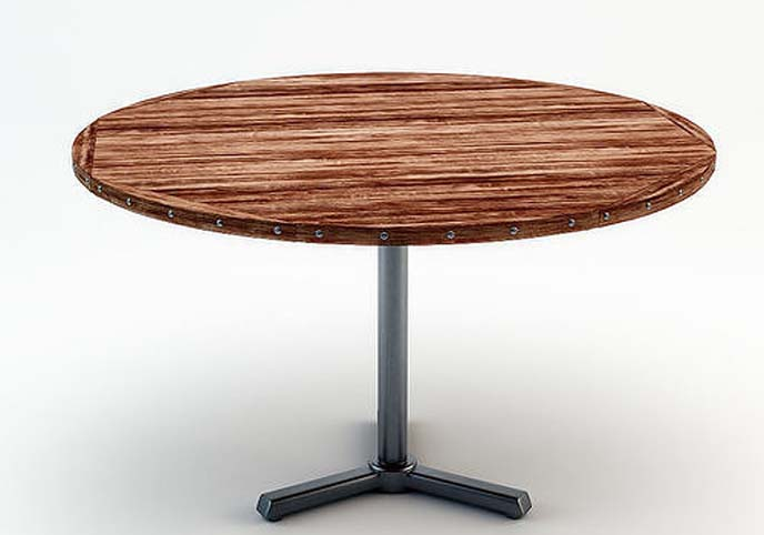 Round rough wooden table