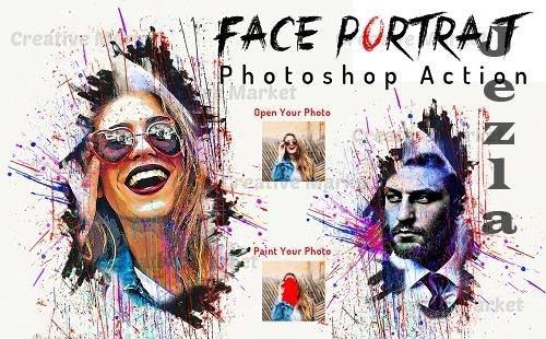 Face Portrait Photoshop Action - 6495555